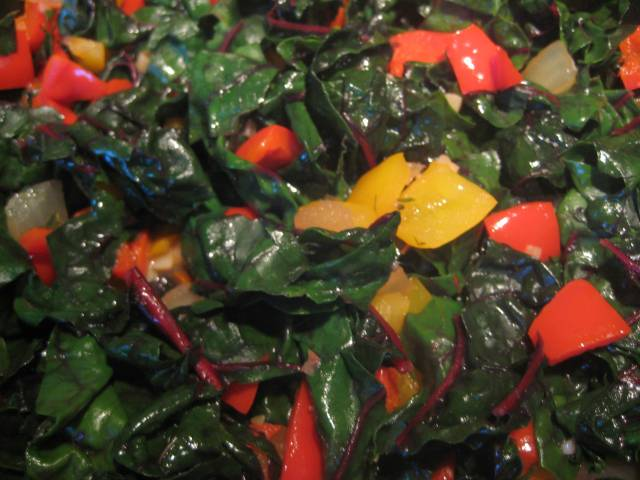 Chard, Red & Yellow Bell Peppers